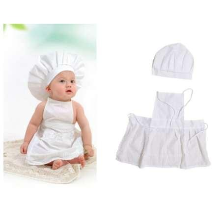 Cute Baby Cook Costume Photo Photography Prop Newborn Infant Hat Apron Chef Clothes DIY Funning Booth Props for Kids White