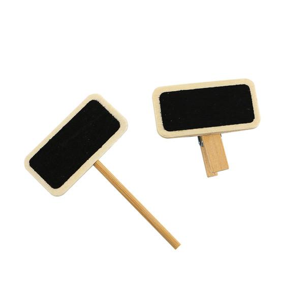 best selling 200pcs Mini Blackboard Wood Message Slate Rectangle Clip Panel Card Memos Label Plan Price Tag Display Snap Pot Flower Name Plate