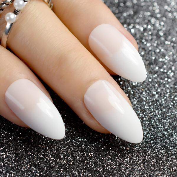 White French Stiletto Fake Nails Natual Pink Pointed Sharp False Nail Art Tips DIY Manicure Nails