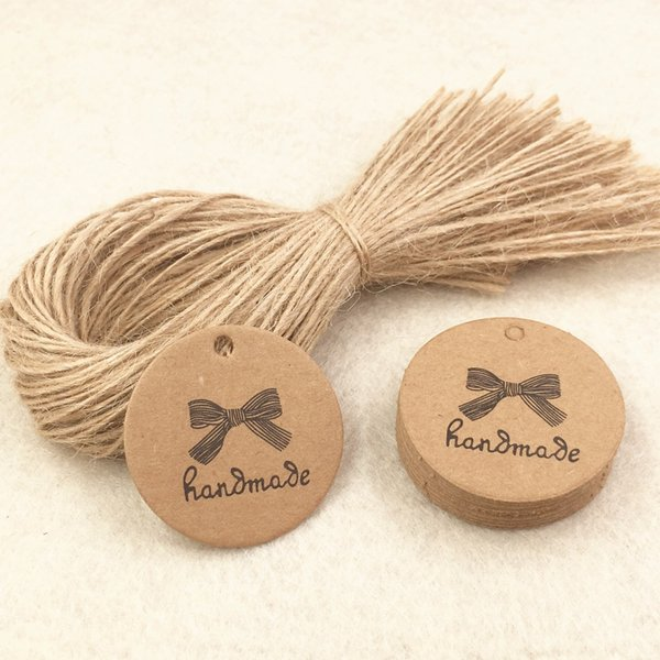 2000pcs 3.5*3.5cm Kraft Paper Gift Tags+200pcs Rope, Packing Price Tags For Jewelry/Gift Boxes/Handicraft/Books