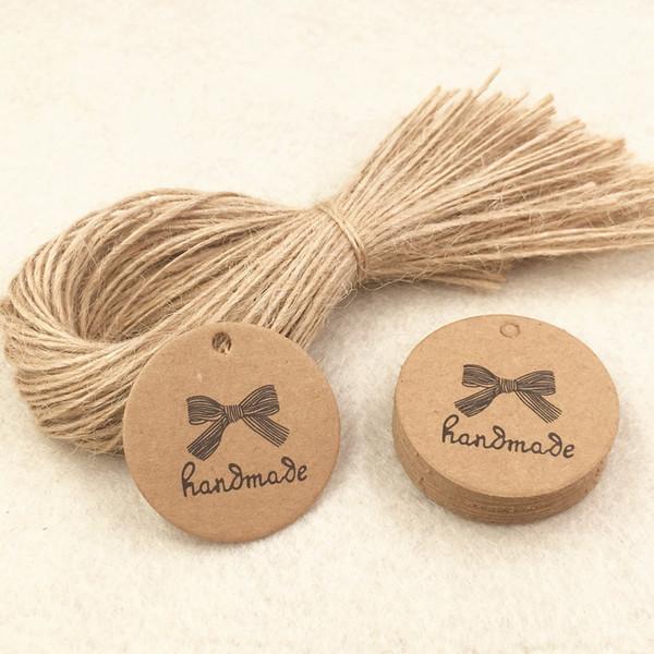 2000 stücke 3,5 * 3,5 cm Kraftpapier Geschenkanhänger + 200 stücke Seil, Verpackung Preisschilder Für Schmuck / Geschenkboxen / Handwerk / Bücher