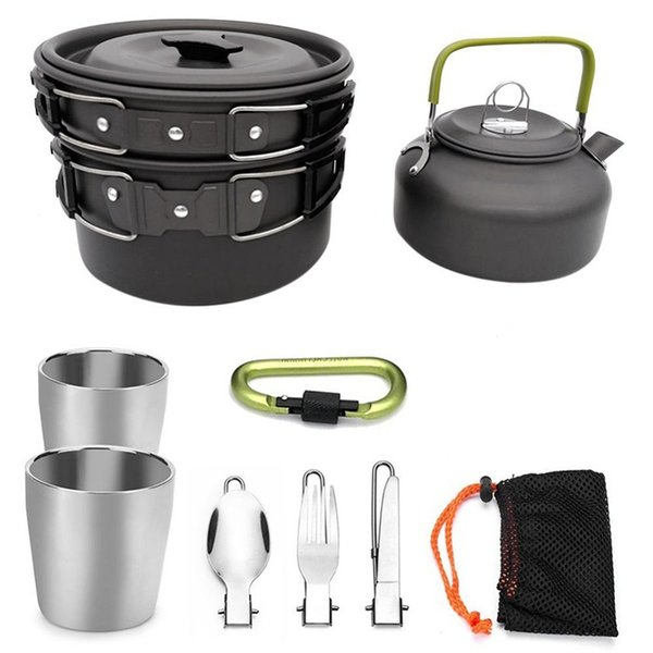 Camping Chef Kooktoestel.Camping Cookware Set Bowl Pot Teapot Pan Tableware Kooktoestel Outdoor Cooking System Outdoor Cooker With Carabiner Tea Cup Camping Kettle Camping