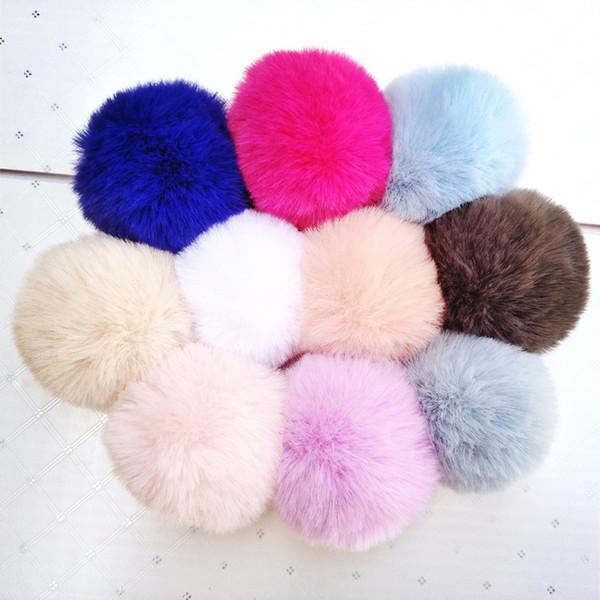 Accessori portachiavi palla di pelliccia 8 cm Soft Pom Poms Strumento portachiavi Palla bella per borsa portachiavi Accessori per cappello lavorato a maglia con ciondolo TTA1746