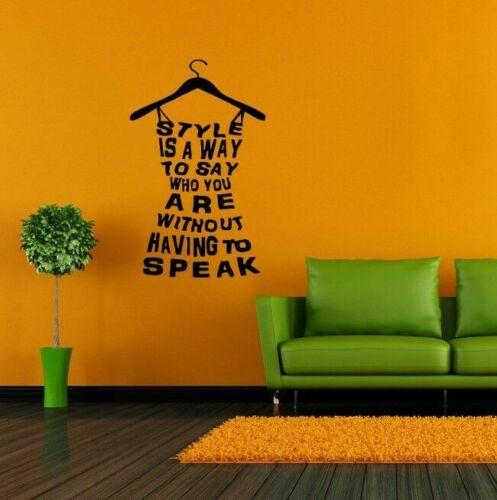 Style Dress Quote Fashion Lettering Wall Vinyl Sticker Decal Mural decor Room Decoration