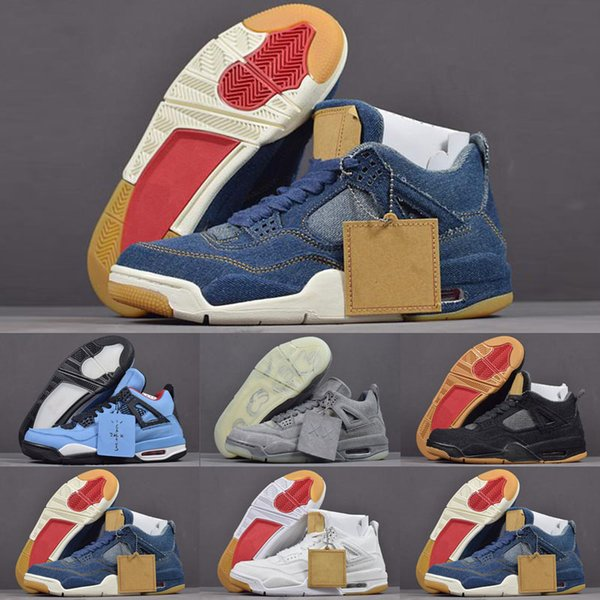 2019 Yeni 4 4 s Denim LS Travis Bebek Çocuk Erkek Retro basketbol Ayakkabı Mens Mavi Kot Sneakers jumPMAn Eğitmenler Marka Zapatos Spor Chaussures
