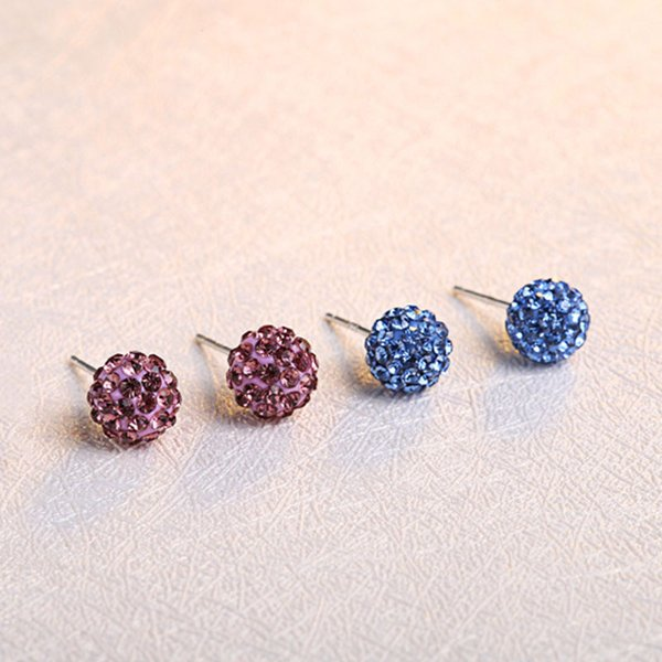 Cheap Three color blue purple white faced ball rhinestone crystal beaded 925 sterling silver beautiful stud earring ball earrings
