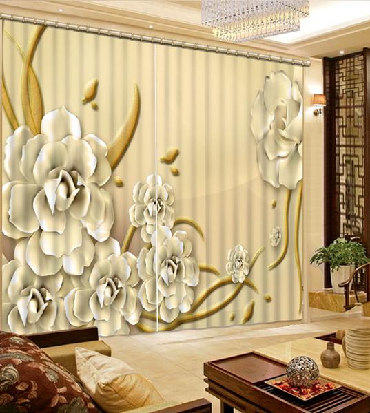 3d esculpida flor luxo 3D janela cortina sala de estar quarto de casamento