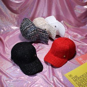 a12d5a4415351 Women Tweed knitting Retro Plaid Baseball Cap Letter M Visor Caps Female  Casual Hot fashion LJJP167