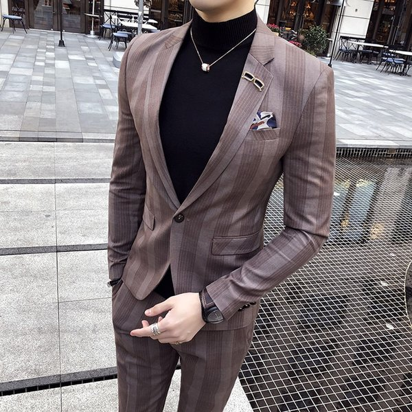 Korean version of the men's striped suit two sets of 2018 new clothes night tide coat Slim suit male groom wedding suite #568753