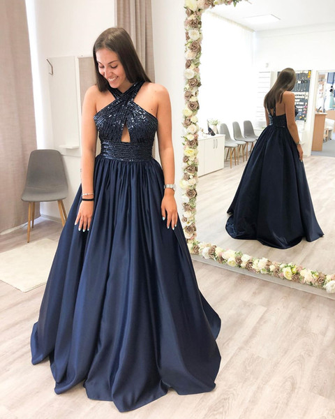 Marvelous 2019 A-Line Navy Blue Sequins Prom Dresses With Halter Neck Zipper Back Cut Out Prom Gowns Beaded Evening Dresses