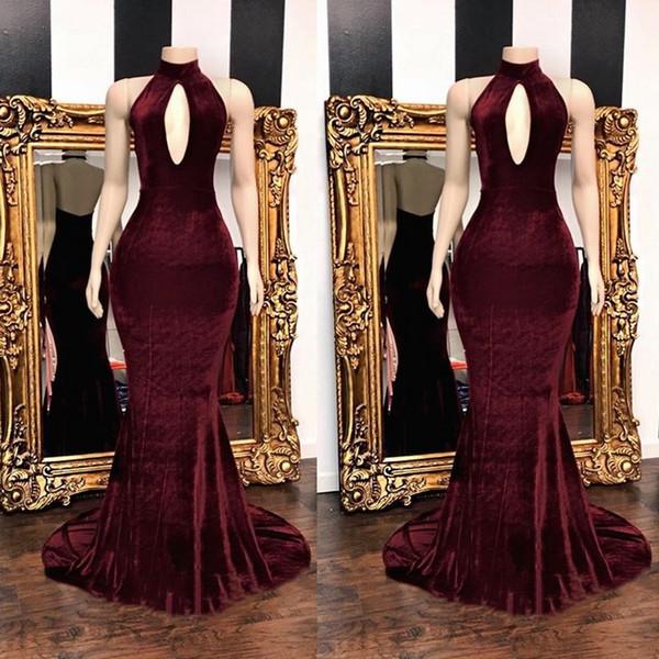 Splendida Borgogna Velluto Velluto Prom Dresses 2019 Piano Lunghezza Keyhole Collo Alto Abiti Da Sera Sexy Aperto Indietro Vestidos
