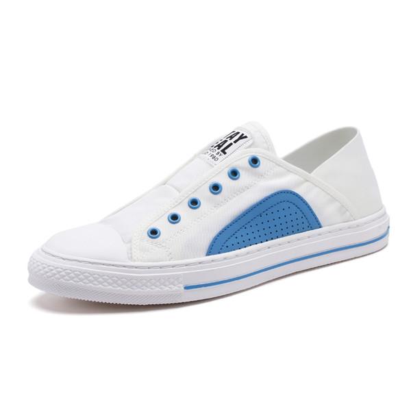 2019 ocasionales de los nuevos cómoda de la manera atan para arriba Blanco Tipo zapatos de los hombres de moda la zapatilla de deporte Moda Zapatos cómodos para caminar al aire libre S10