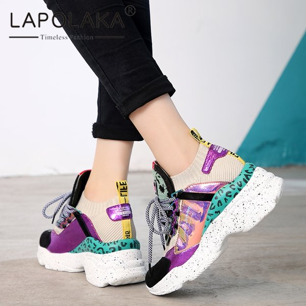 Lapolaka Fashion 2019 High Quality Large Size 35-42 Hot INS Shoes Woman Sneakers Lace Up Platform Classic Sneaker Women Shoes