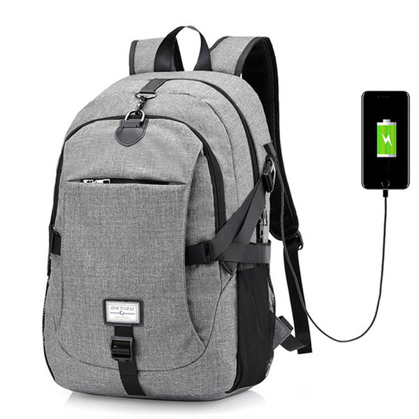 Travel Backpacks Men Women Fashion USB Charging Backpack Large Capacity  College School Backpack (Purple Grey Black Blue) 97d4c5030cf5c