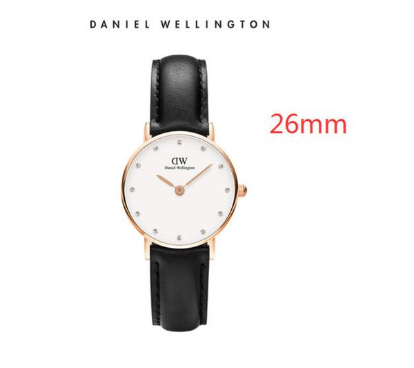 Kutu ile en kaliteli 26mm erkek Daniel Wellington dw beyaz saatler deri lüks İzle kadınlar 28mm moda Kuvars İzle Suya
