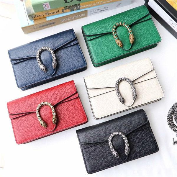 top popular High Quality Mini Brand Leather Slant Bag Single Shoulder Bag Tiger Head Button Crystal Decoration designer handbag wallet 2019