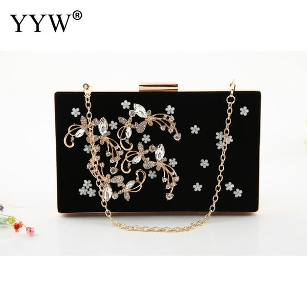 velour black vintage evening clutch purse flower rhinestone women wedding party handbag with chains strap