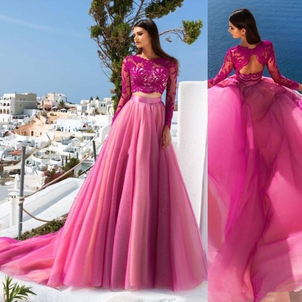 Charming Two Pieces Colorful evening formal dresse A Line Sheer Long Sleeve Lace Appliqued Sexy Cheap Fuchsia Tulle prom gown