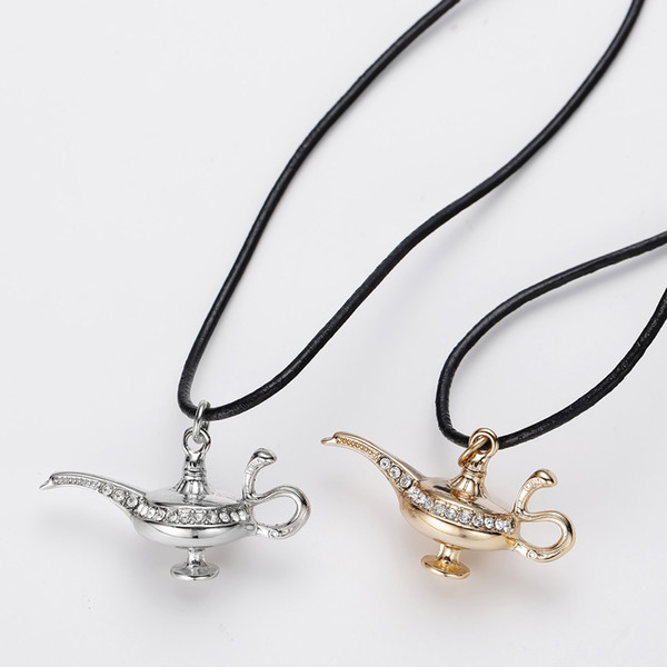 Aladdin Magic Genie Lamp Necklace Gold Pendant with Rope Chain Aladdin Jewelry Costume Kids Gift Crystal Lamp Pendants Wholesale