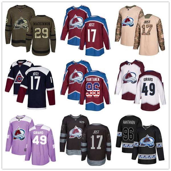 Custom Colorado Avalanche Jersey 29 Nathan MacKinnon 96 Mikko Rantanen 49 Samuel Girard 17 Tyson Jost USA Flag hockey jerseys