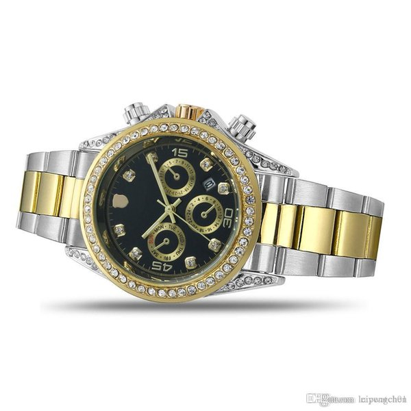 2019 men top brand luxury watch High quality auto date quartz movement 40MM dial men women watch rhinestone case men women sports watch