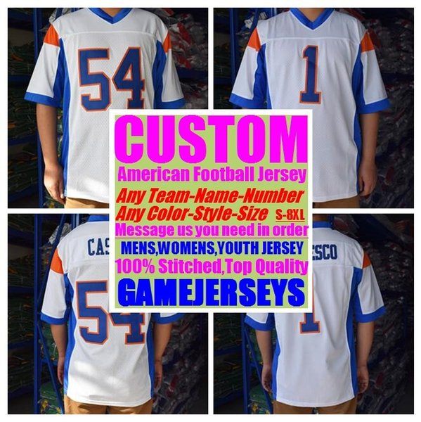 top popular Custom college american football jerseys mens womens youth kids soccer rugby stitched authentic jersey 4xl 5xl 6xl 7xl 8xl Sports Outdoors 2019
