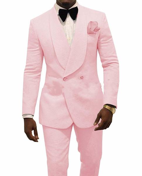 Kabartma Damat Smokin Pembe Erkek Düğün Smokin Şal Yaka Adam Ceket Blazer Moda Erkekler Balo / Akşam Yemeği 2 Adet Suit (Ceket + Pantolon + Kravat) 100