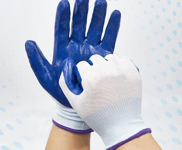 Luvas Ding Qing Trabalho Seguro resistente ao desgaste antiderrapante Dip borracha nitrílica luvas brancas Fio azul butílica Luvas de borracha transparente Confortável,