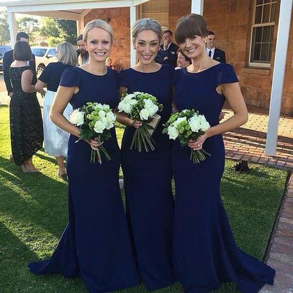 Royal Blue Bridesmaid Dresses With Short Sleeves 2019 New Sexy Mermaid Satin Long Wedding Guest Dress Cheap Country Maid Of Honor Gowns