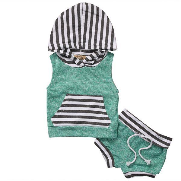 2017 neue ankunft jungen mädchen sommer kleidung sets sleeveless hoodies tops + striped shorts 2 stücke infant set