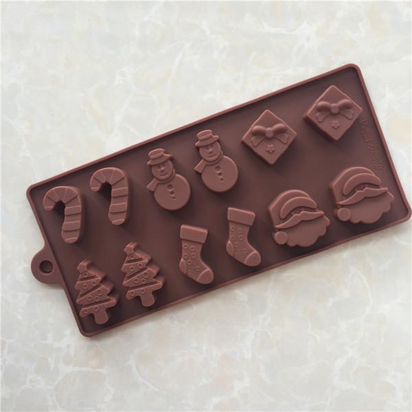DIY Silikon Schokoladenform - Weihnachtsbaum Wand Socke Schneemann Schokolade Backen Werkzeuge Gelee Süßigkeiten Form Küchenhelfer