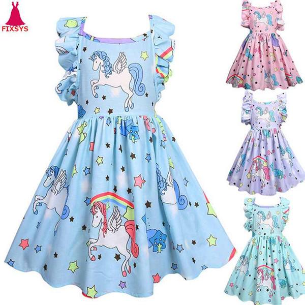 Compre Nuevo Vestido Unicornio Tutu Bebé Niños Niñas Vestidos De Cumpleaños Para Niña Cosplay Princesa Fiesta Niño Halloween Traje De Navidad 3 8t A