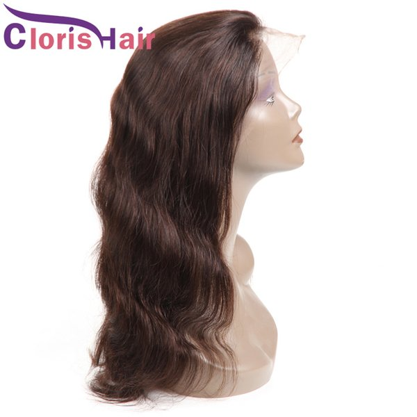 Body Wave Glueless Lace Front Wigs For Black Women #2 Dark Brown Human Hair Wig Pre Plucked With Baby Hair Cheap Peruvian Braided Wig