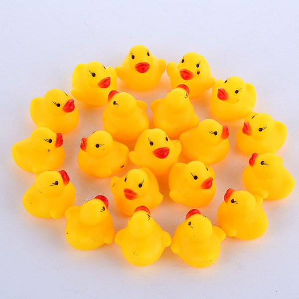 best selling Wholesale 100pcs Baby Bath Water Duck Mini Floating Yellow Rubber Ducks with Sound Children Shower Swimming Beach Play Toy Set