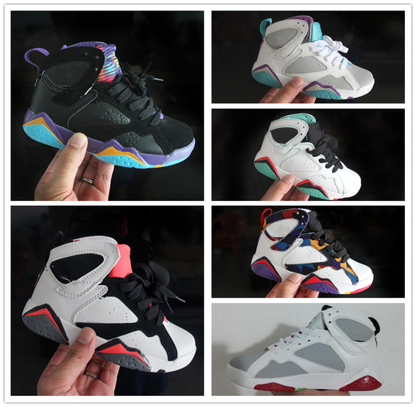 2018 Kids Basketball shoes 7s Blackout Win Like Black Stingray baby Kids 7 Sneaker Shoes youth boys girls running shoes