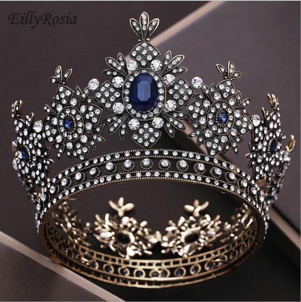 Royal Queen Crown Wedding Full Circle Miss Universe Pageant Tiaras y Coronas Novia Diadema Cabello Joyas Barroco Nupcial Venta caliente