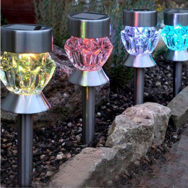 Renk değiştirme led SOLAR çim lamba ELMAS Kabak şekilli ip65 LED peyzaj lambası Güneş bahçe Zemin Işık Tatil dekor Işık paslanmaz