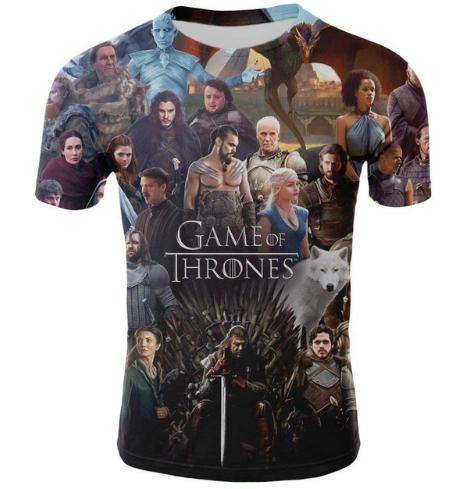2019 Newest Fashion Pop Movie Game of Thrones Tshirt Tee Shirts Loose Fit Casual Men Coat Brand-Clothing 3d T-shirt Tops Hip Hop Style U1732