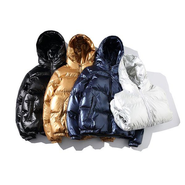 Gold Silver Bright Parka Men Winter Jacket Men Hip-hop Male Winter Coats Fashion Zipper Hooded Parka Thick Warm Jackets for