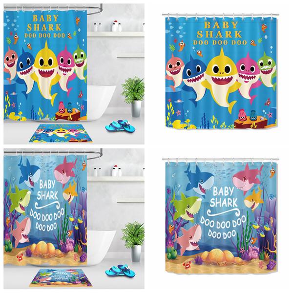 2pcs/set Baby shark Curtain floor mat cartoon printed door bedroom Blackout bathing room Window Treatment kids room decor blanket FFA2267