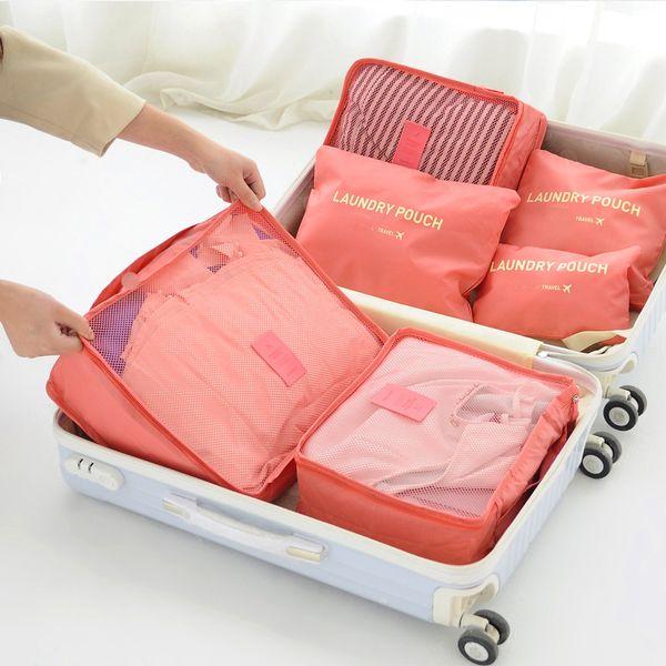 Sistema di borsa da viaggio in cubo di nylon di alta qualità durevole 6 pezzi Set Grande capacità di borse Smistamento abbigliamento unisex