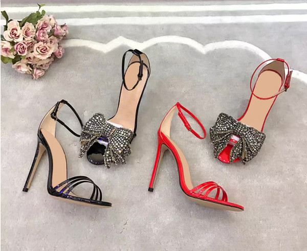 Hot Sale-Crystal Bowtie Gladiator Sandals Women Summer Patent Leather High-heeled Pumps Black Ankle Strap Dress Wedding Mary Jane Shoes