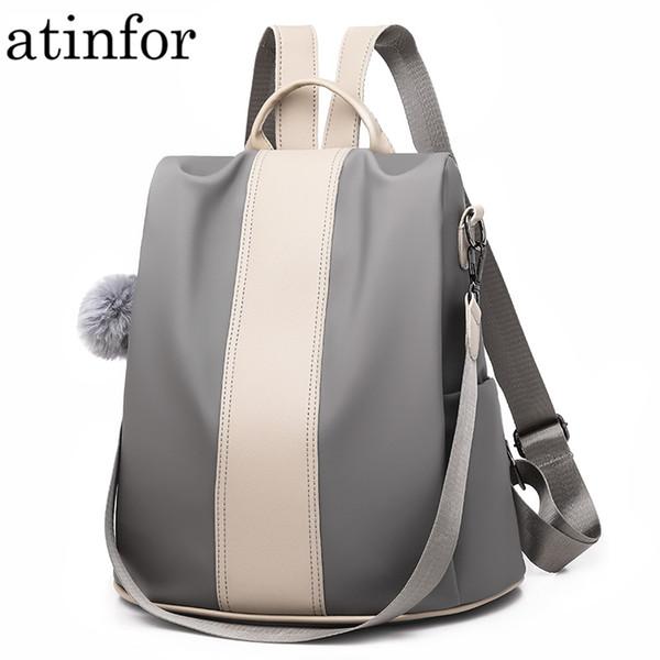 atinfor impermeable PU cuero antirrobo mochila mujeres 2019 mochilas vintage bolso de hombro de la escuela por 2 materiales