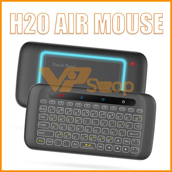 Retroiluminación Mini teclados inalámbricos con Touchpad Multi-touch 2.4G Control remoto H20 Fly Air Mouse para Android TV Caja PC Portátil HTPC IPTV