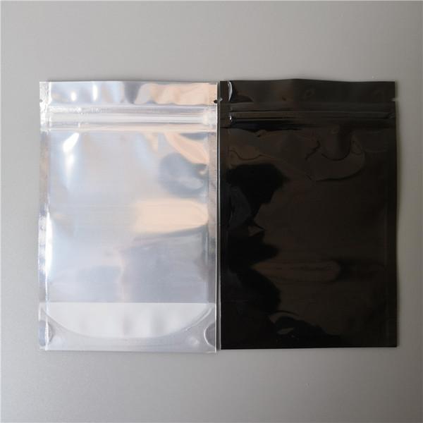 10x15 cm alüminyum zip Kilit çanta Alüminyum folyo çanta geri siyah Simli Metalik Alüminyum plastik kese fermuar Kavrama Mühür
