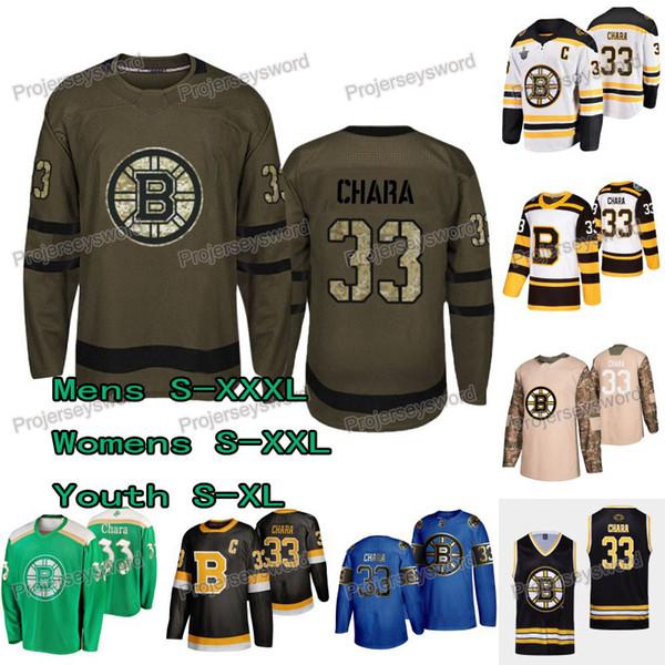 # 33 Zdeno Chara Forması Boston Bruins St. Patrick Günü Selamı Hizmet Camo Gaziler Günü 2019 Kış Klasik Stanley Kupası Final Formaları