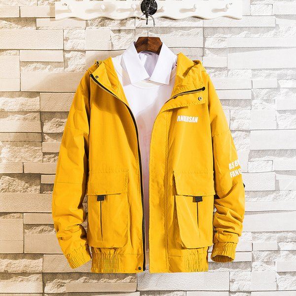 Printemps et automne modèles veste à capuche veste masculine veste collège jaune noir casual garçons hip hop tendance lâche à capuche jac