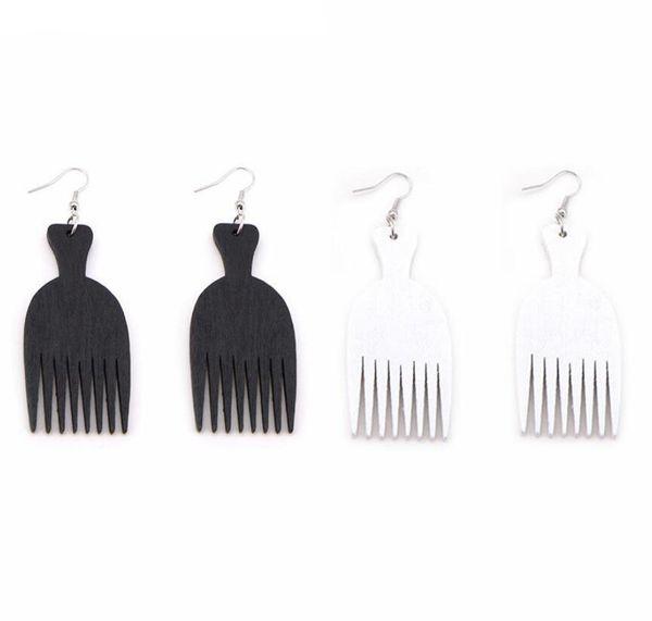 Hot Stylish African Wooden Earrings Comb Charm Pendant Dangle Wood Earrings For Women Lady