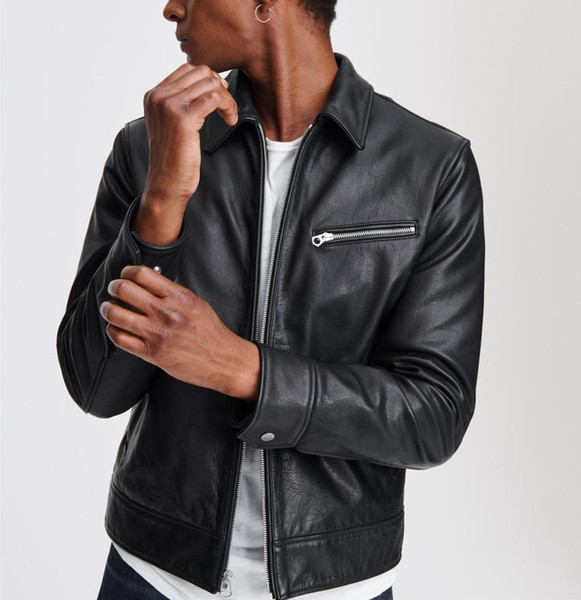 a luxury proofed domesticated turkey cowhide leather jackets men really leather lining quilted warm from the cold, Black