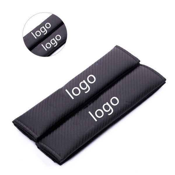 1pair Embroidered logo Seat belt cover shoulder pad Black Carbon fiber cloth for TRD emblem others badges auto accessories